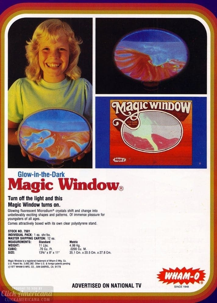 Wham-O's Magic Window - Glow in the dark catalog page - 1978