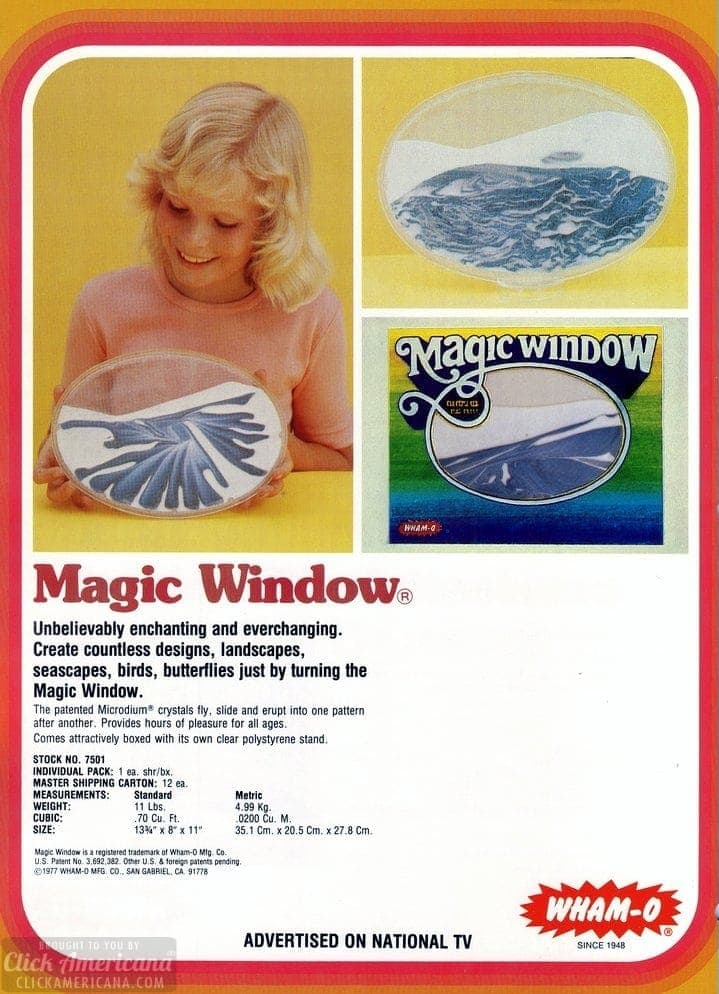 Wham-O's Magic Window catalog page - 1978