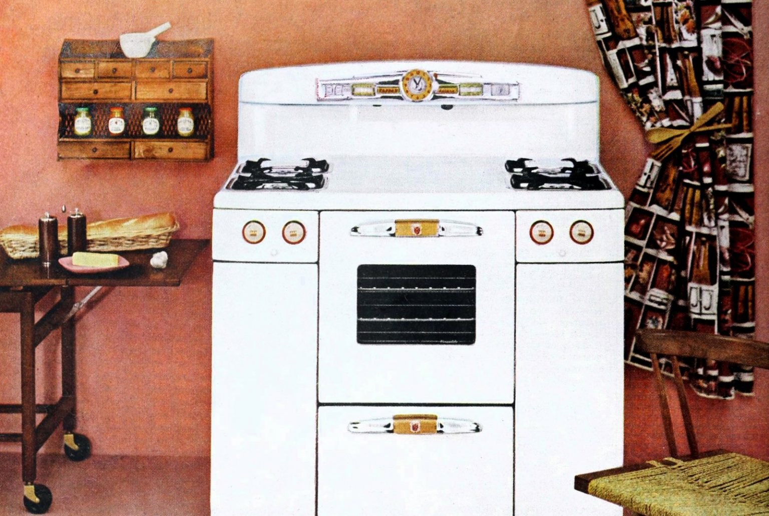 What old-fashioned gas ranges in 1950s kitchens were like