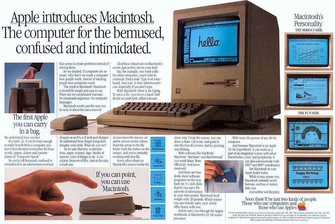 When Apple introduced the Macintosh personal computer (1984)