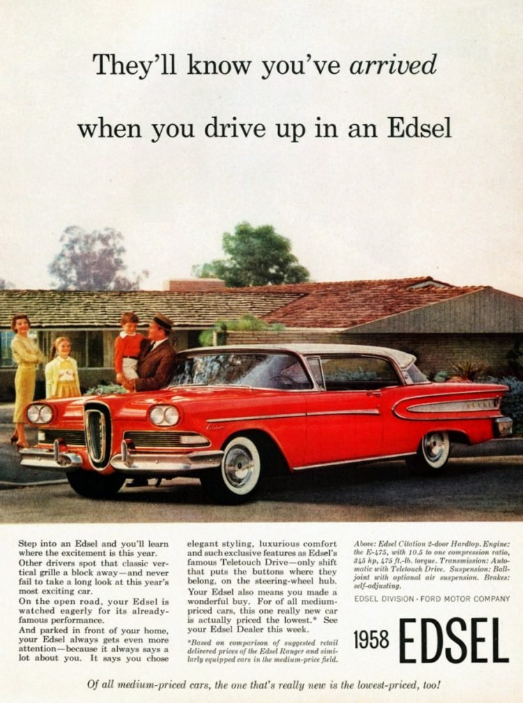 When you drive up in a Ford Edsel - Vintage ad from 1958