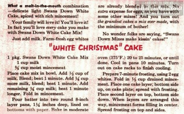 White Christmas cake with mincemeat vitnage recipe