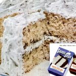 White Christmas cake with mincemeat An old-fashioned holiday recipe (1952)