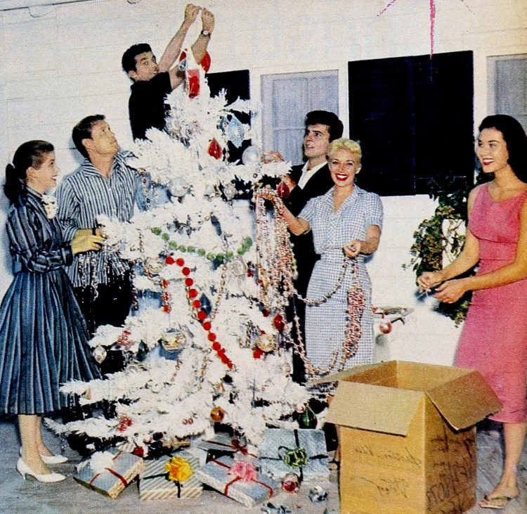 White Christmas tree in the 1950s