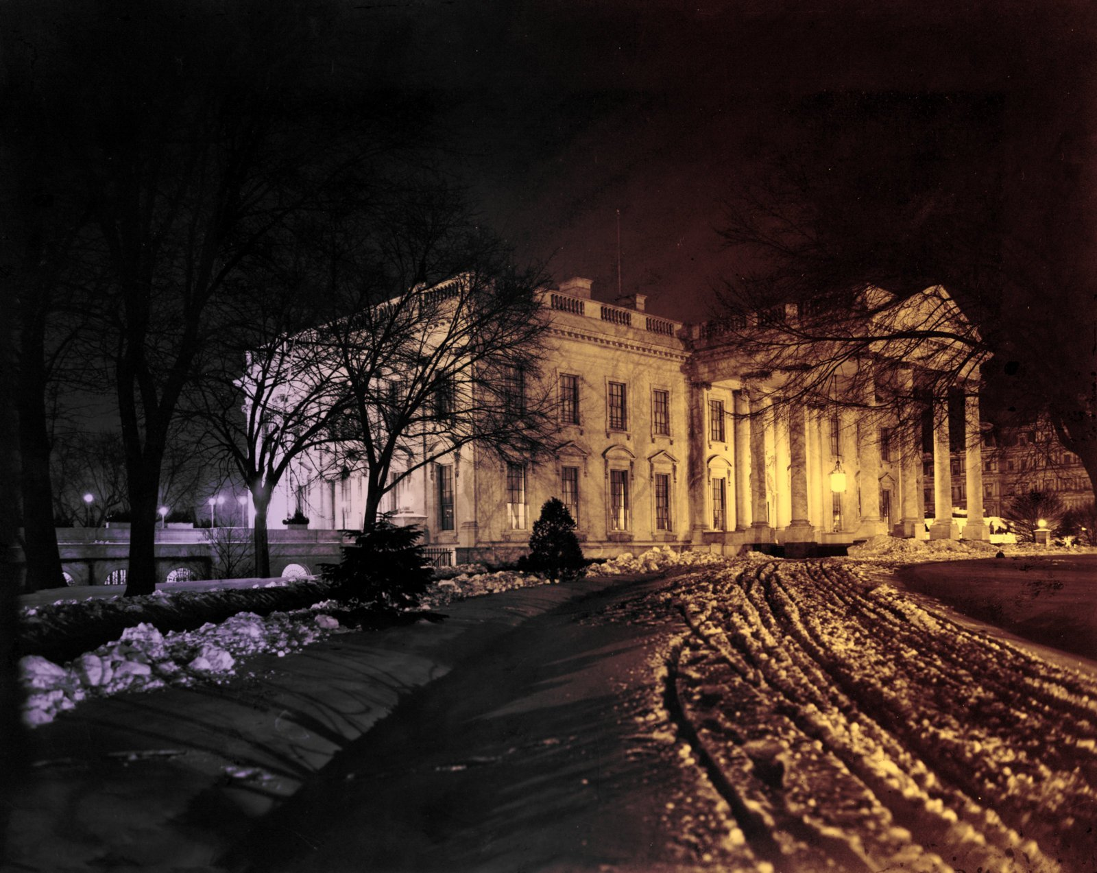 White House, exterior 1907 view at night, under snow (colorized)