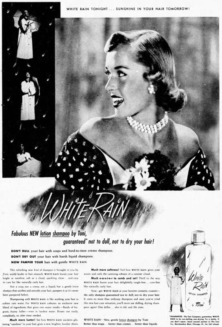 White Rain shampoo new in 1951 - Indianapolis newspaper ad
