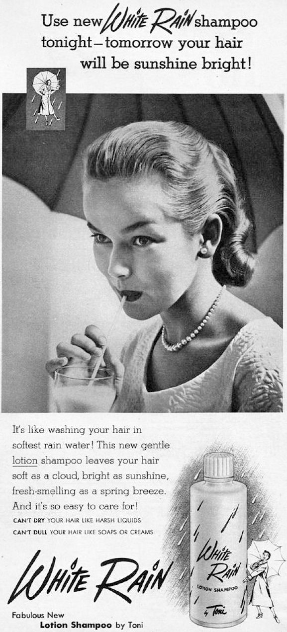 White Rain vintage shampoo ad from 1953