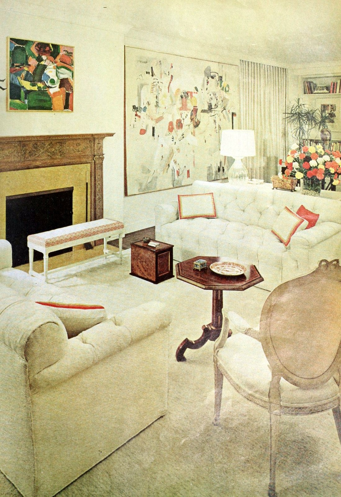 White and cream calming living room decor from the 1960s