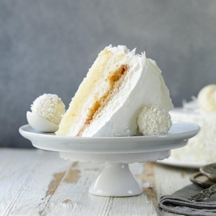 White coconut layer cake