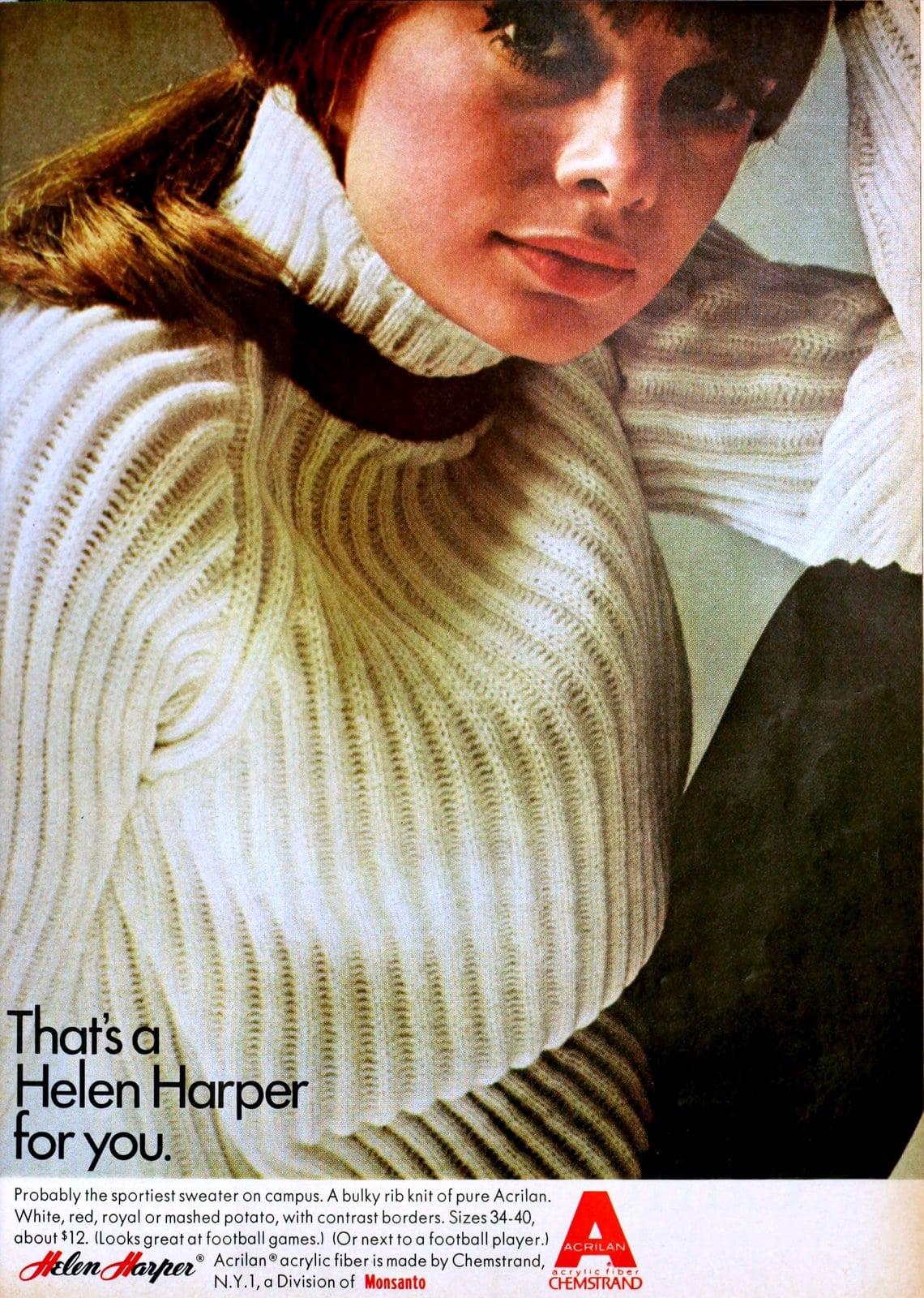 White turtleneck sweater from Helen Harper (1964)