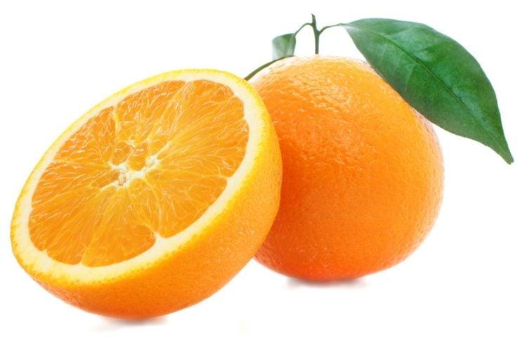 Whole orange and sliced orange