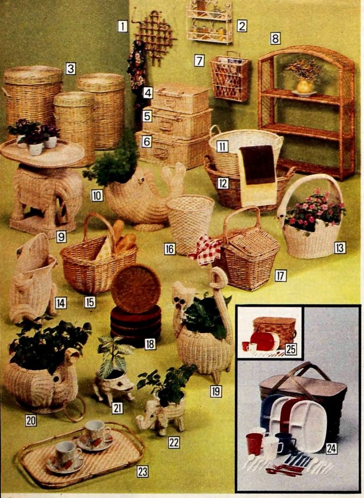 Wicker plant baskets and home decoer from the 70s
