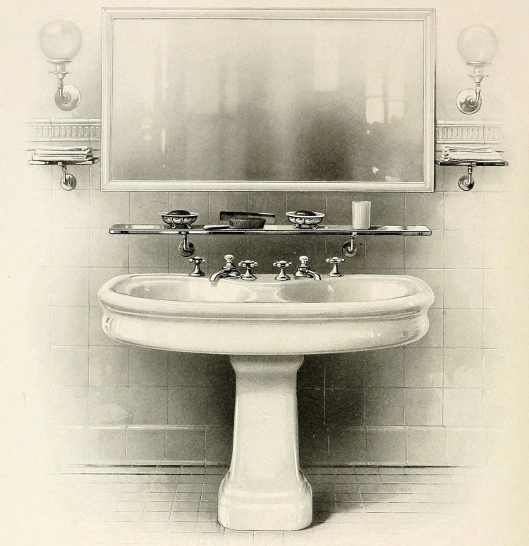 Wide antique bathroom sink