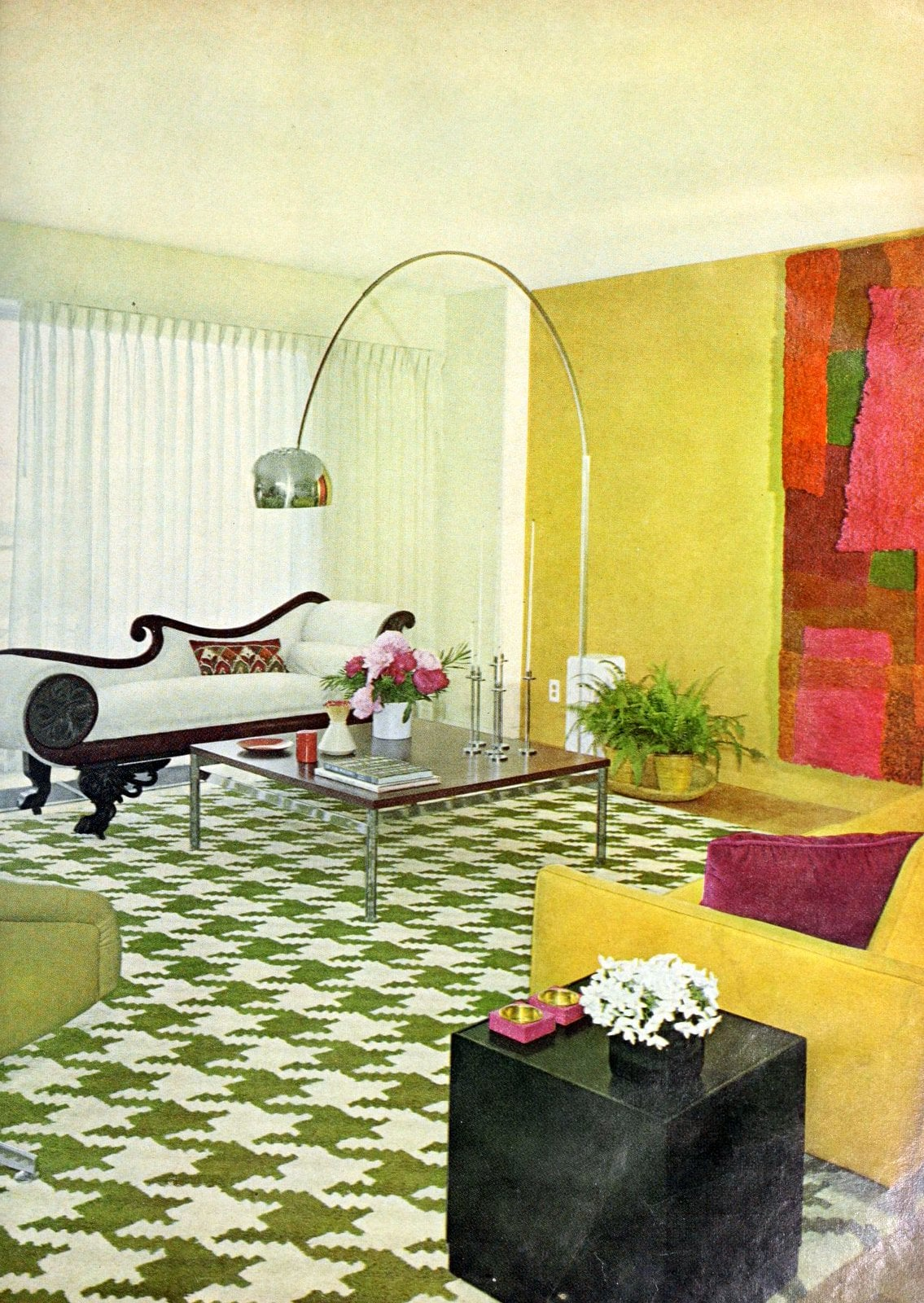 Wild green and white houndstooth carpeting with mod furniture (1966)