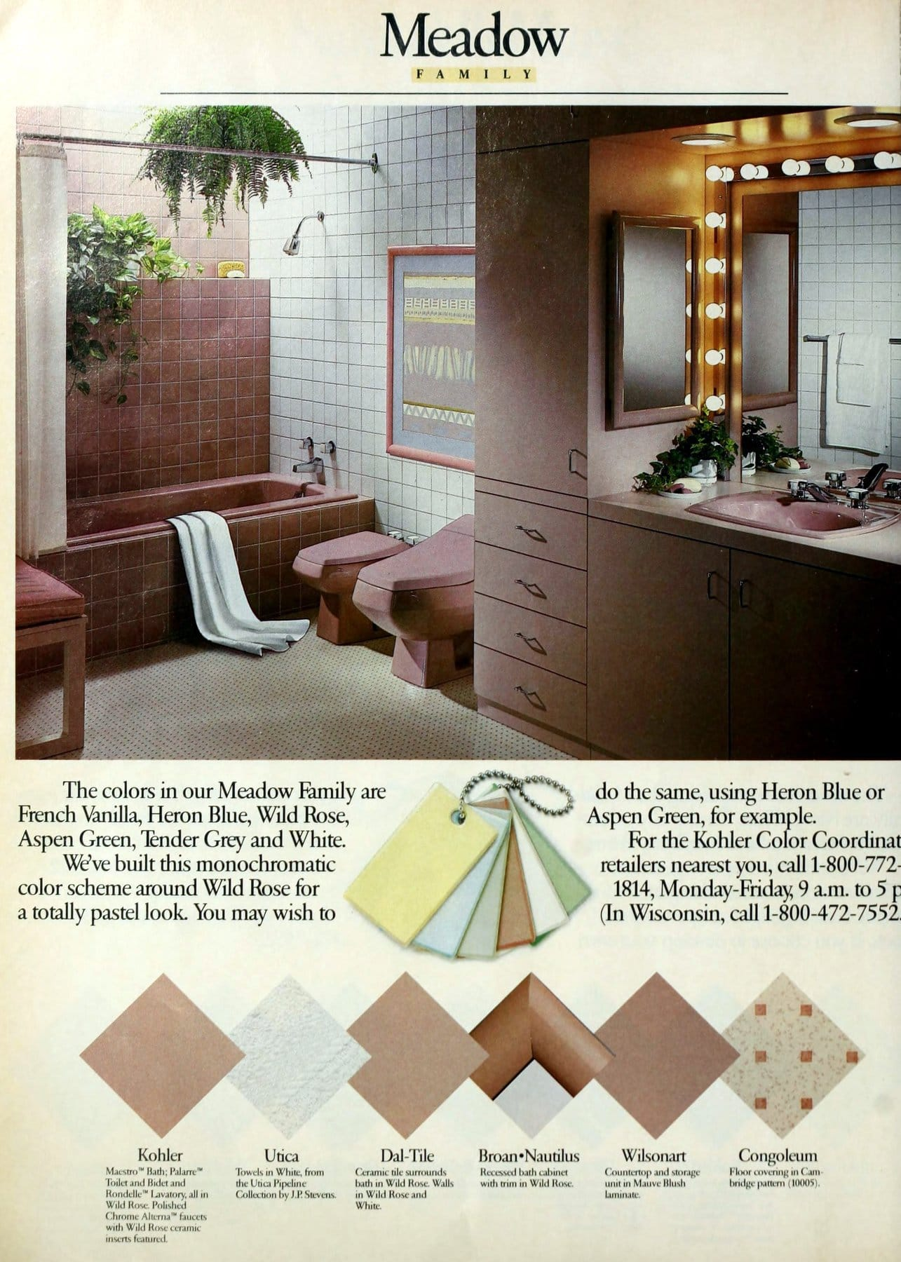 Wild rose Meadow retro 1980s bathroom decor color scheme