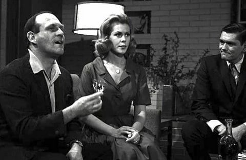 William Asher, Elizabeth Montgomery, and Dick York on the set of Bewitched
