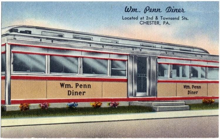 William Penn diner vintage postcard