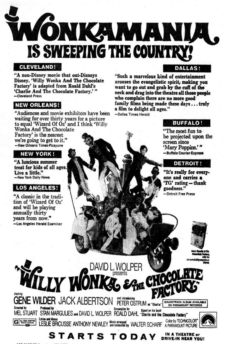 Willy Wonka & the Chocolate Factory Los Angeles newspaper ad - July 28 1971