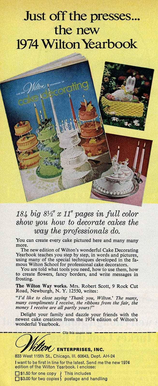 Wilton cake decorating yearbook 1974