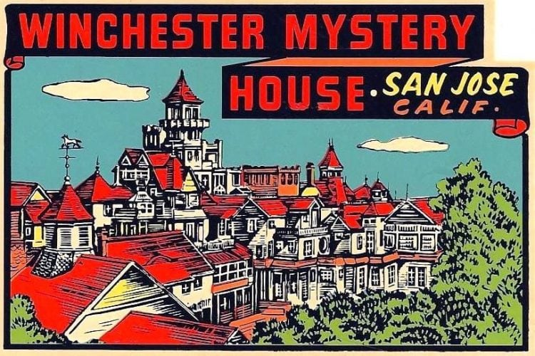 Winchester Mystery House 1948 postcard sticker