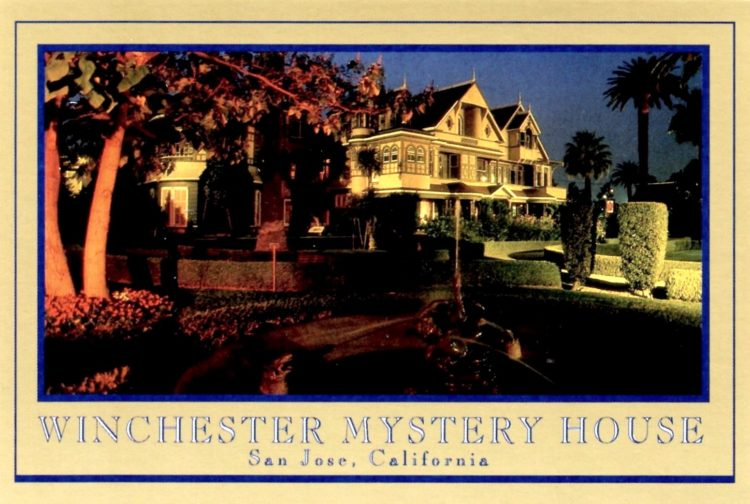Winchester Mystery House vintage 80s postcard
