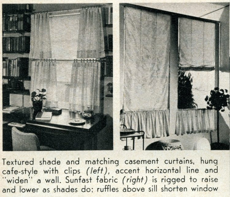 Window coverings from 1956 - Textured shade and matching casement curtains