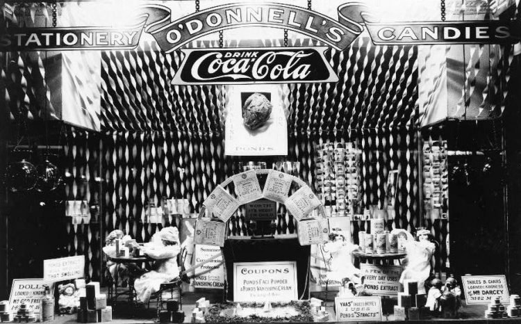 Window display featuring Pond's Extract products in O'Donnell's drugstore, probably DC no date