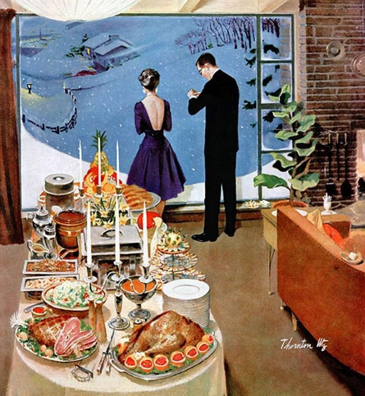 Winter holiday dinner - Midcentury modern