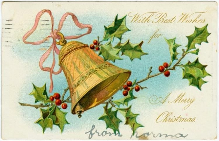 With best wishes for a merry Christmas card 1908