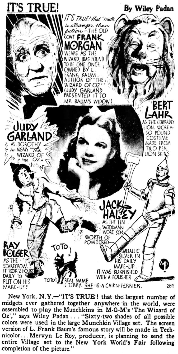 Wizard of Oz facts from 1939