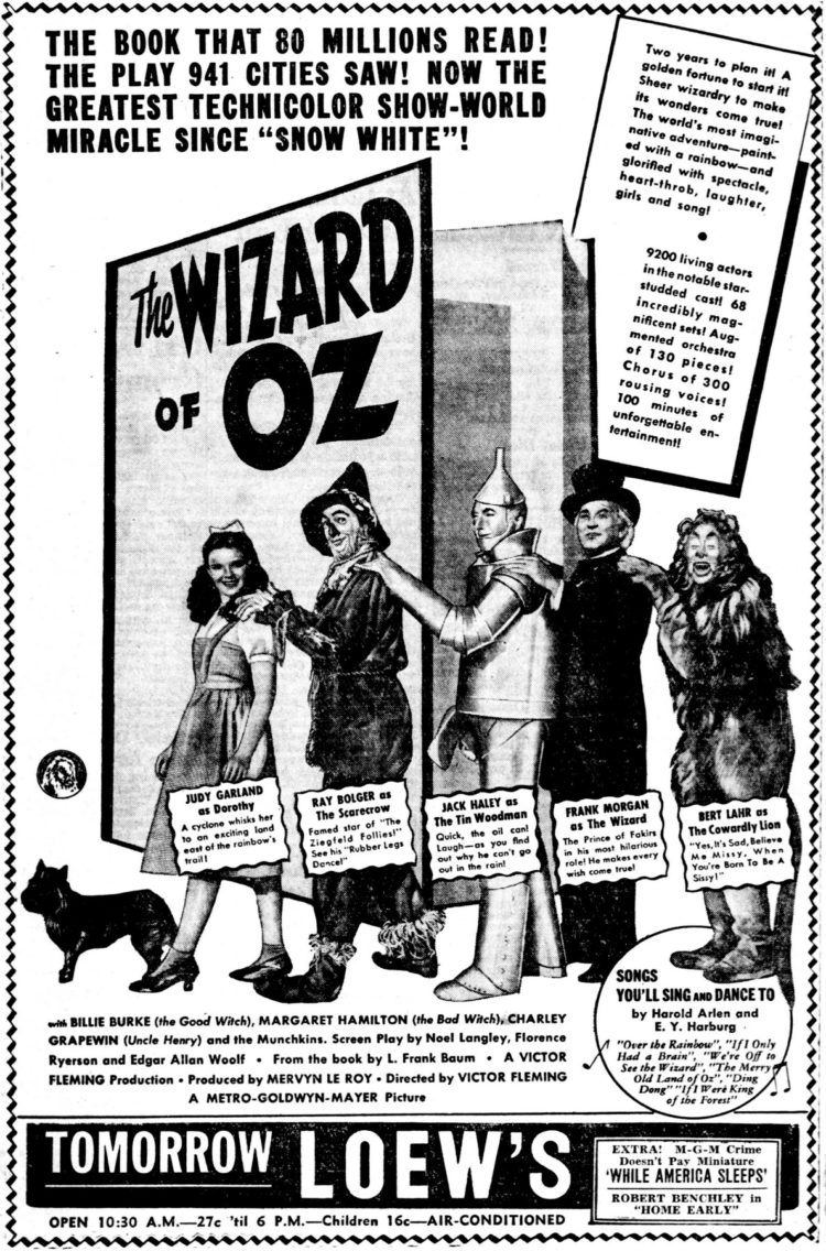 Wizard of Oz opening ads - August 1939