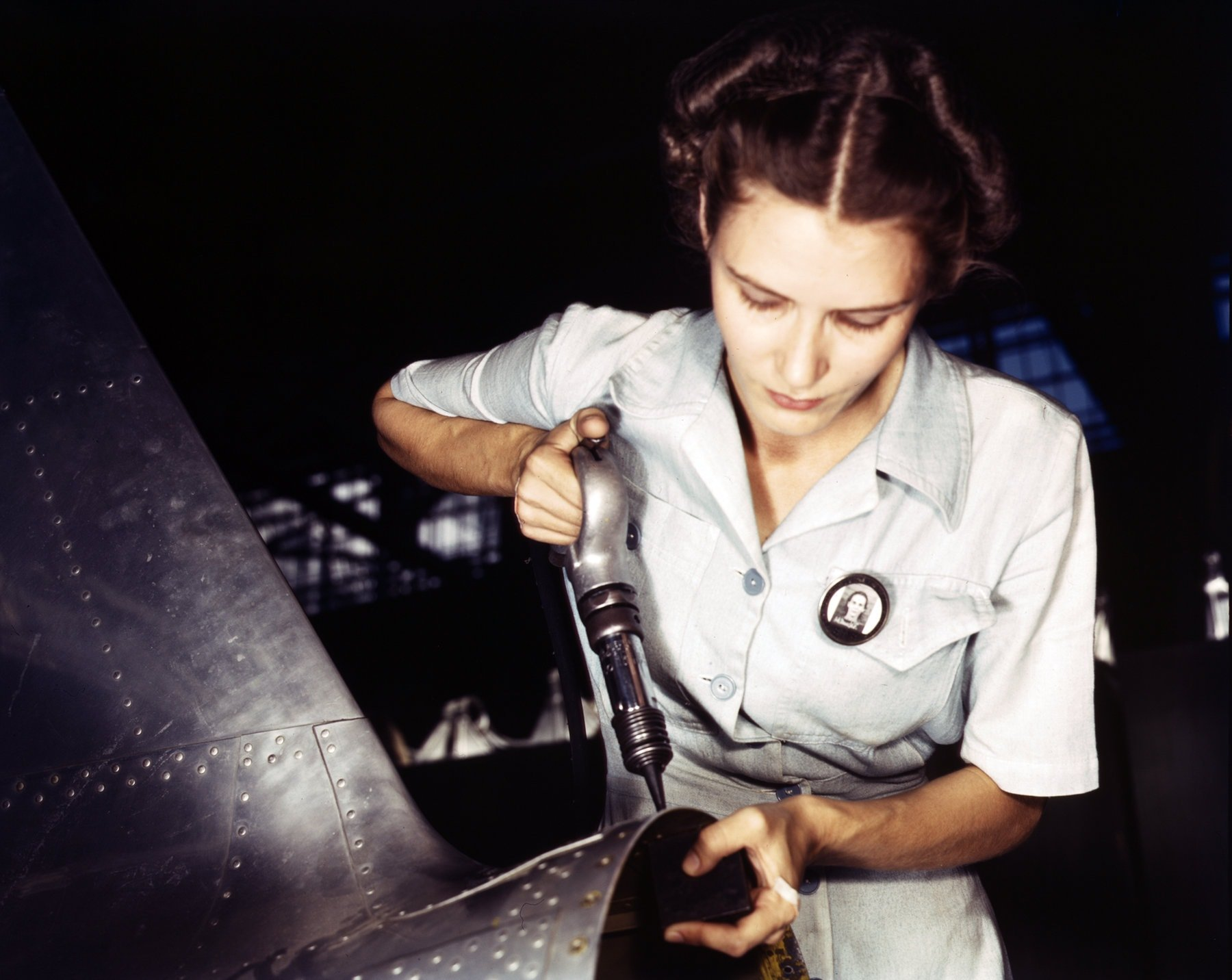 Working in airplane assembly and repair department, Texas