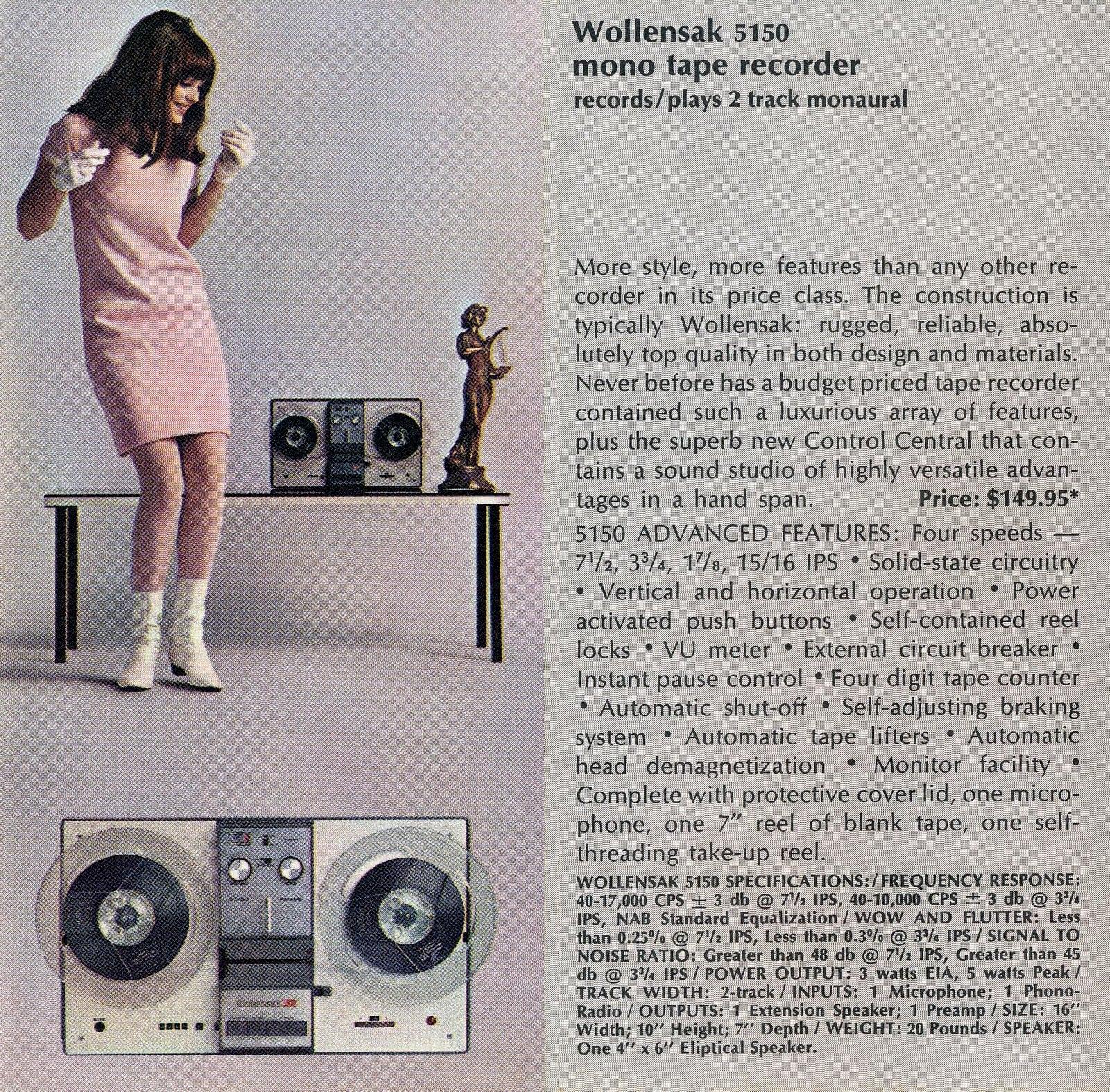 Wollensak tape players - tape recorders 1966