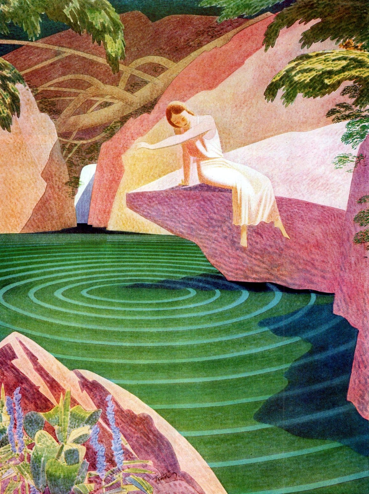 Woman and a pond - art from 1931