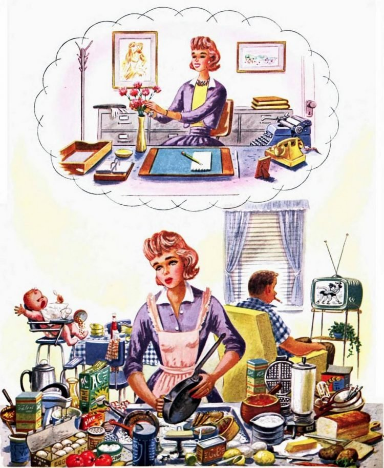 Woman daydreaming about an office job instead of being a housewife - 1959