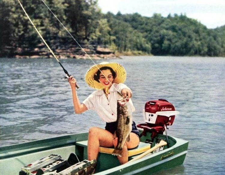 Woman fishing in 1956