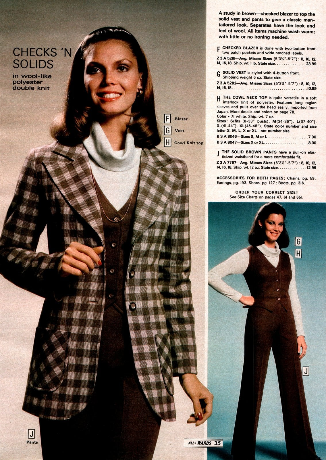 Woman in cowl-neck shirt and checked brown double-knit polyester paintsuit with jacket (1979)
