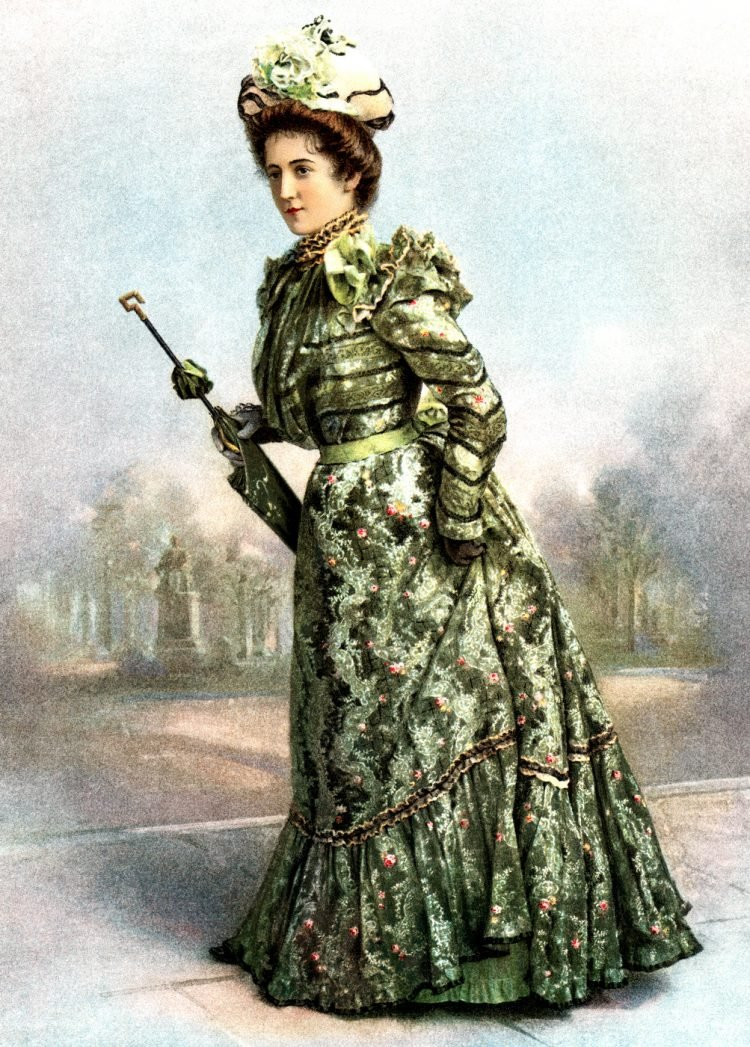 Woman in green dress 1899
