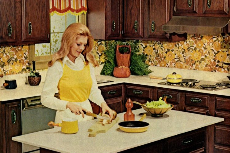Helpful household hints for a woman in her kitchen in 1973
