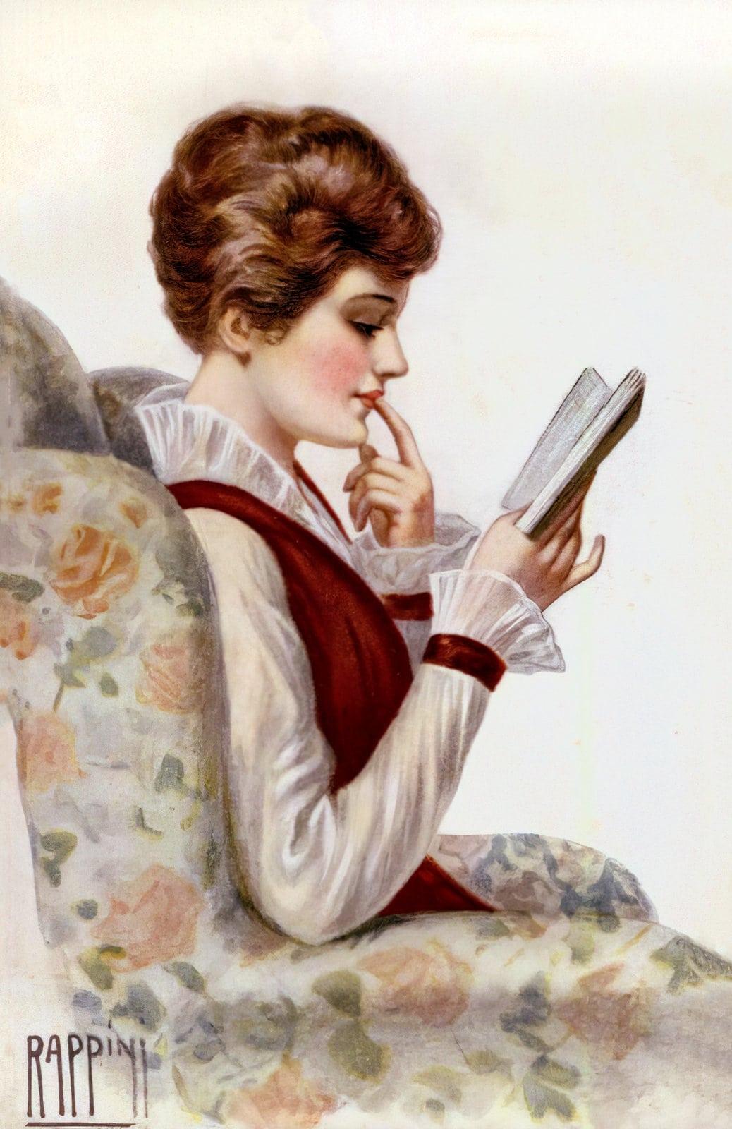 Woman reading - vintage postcard (c1918)