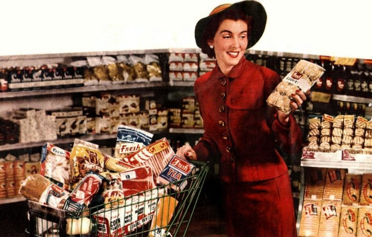 Woman supermarket shopper 1952