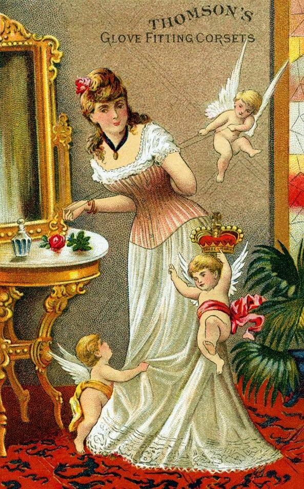 Woman wearing corset - vintage ad