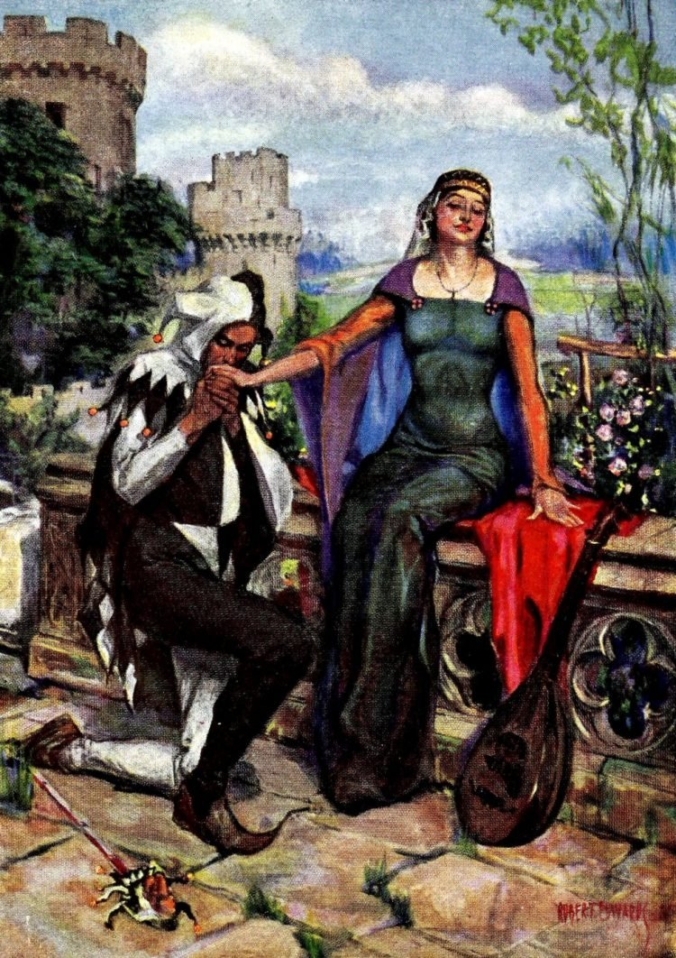 Woman with a harlequin jester