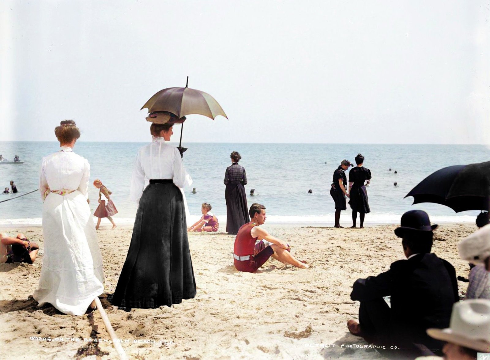 Woman with parasol at Palm Beach, Florida (1900)