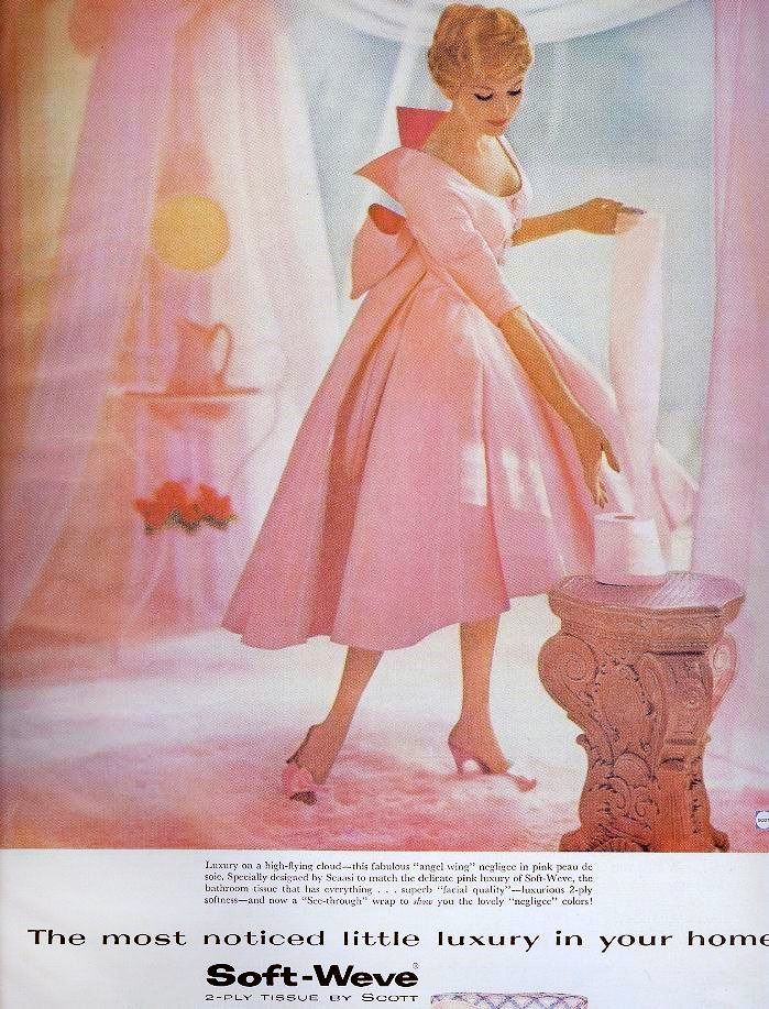 Woman with pink toilet paper - 1950s