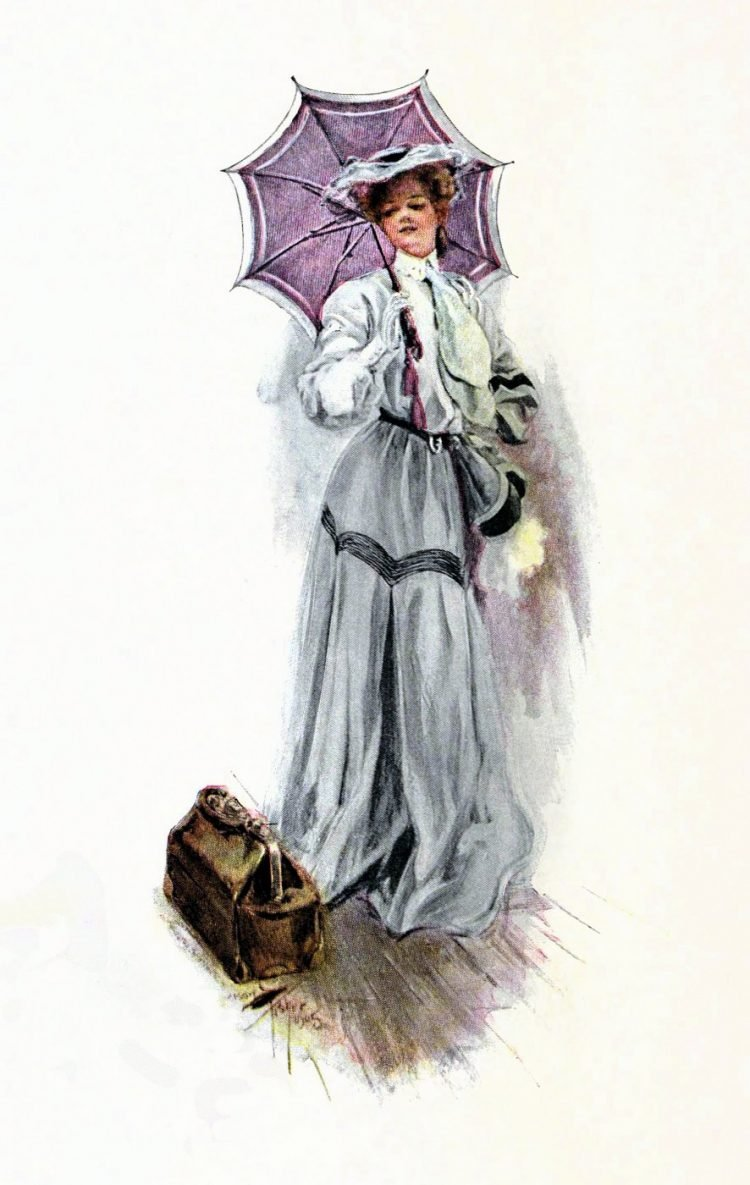 Woman with violet parasol