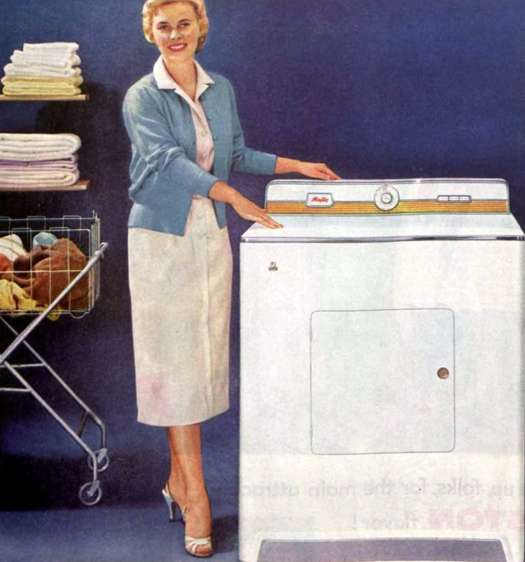 Woman with washer - Laundry in the 50s