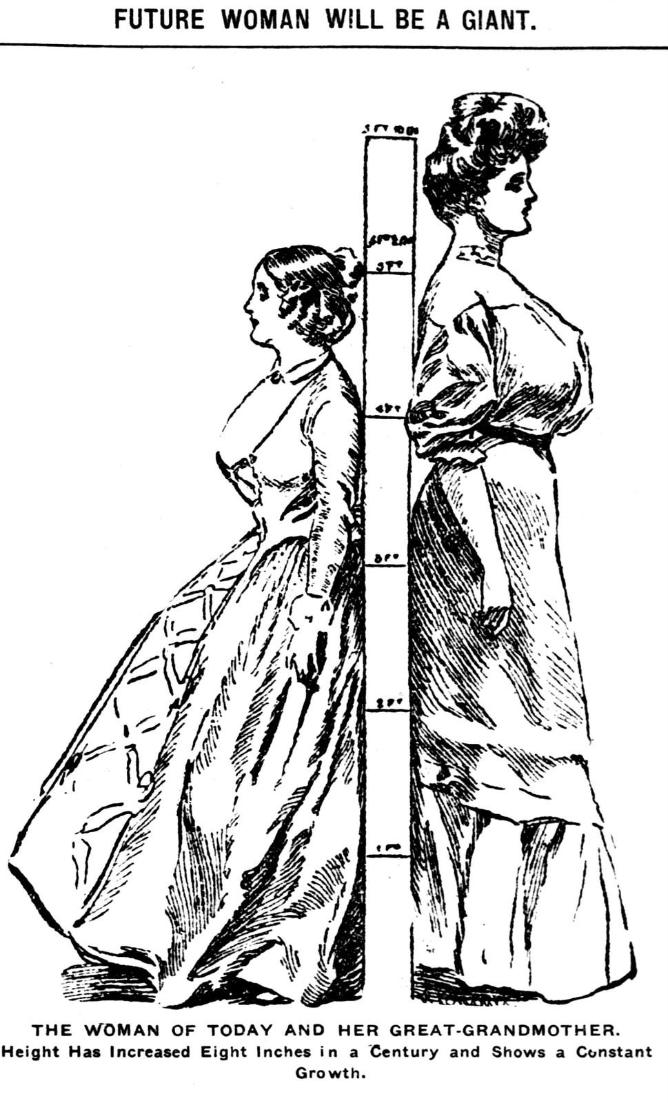 Women getting taller - The woman of today and her great grandmother (1906)