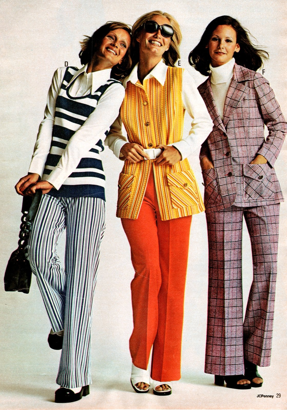 Women in casual colorful suits with pants (1973)