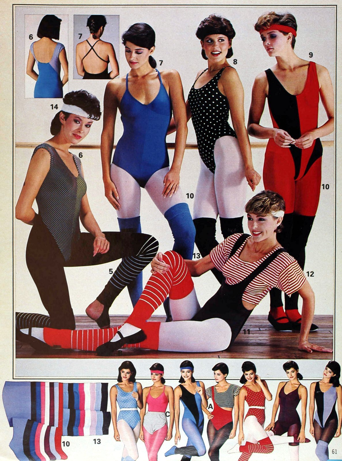 Women in the 80s at gym or dance class with leotards, tights and leg warmers